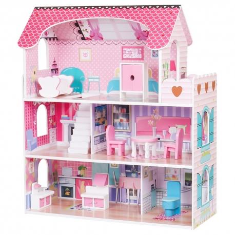 Medinis lėlių namas su apšvietimu 22574